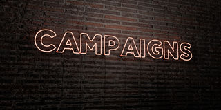 CAMPAIGNS -Realistic Neon Sign on Brick Wall background - 3D rendered royalty free stock image Royalty Free Stock Image