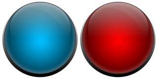 A campainha elétrica abotoa o vermelho e o azul Imagem de Stock Royalty Free