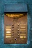 Campainha elétrica de bronze do intercomunicador do vintage imagens de stock royalty free