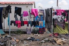 Campamento de refugiados en Grecia Imagen de archivo libre de regalías
