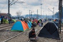 Campamento de refugiados en Grecia Imágenes de archivo libres de regalías