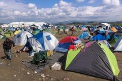Campamento de refugiados en Grecia Fotos de archivo libres de regalías
