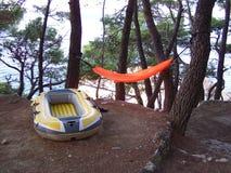 Campamento de verano en la playa Foto de archivo libre de regalías