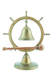 Campana de cobre amarillo con el palillo de madera imagen de archivo libre de regalías