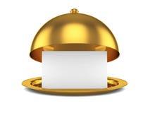 Campana de cristal abierta de oro con la plantilla de papel Foto de archivo libre de regalías