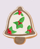 Campana de la Navidad blanca del pan de jengibre Imagenes de archivo
