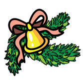 Campana de la Navidad con la cinta y el árbol de hoja perenne Imagen de archivo