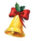 Campana de la Navidad de oro de la acuarela Imagen de archivo