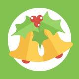 Campana de la Navidad plana colorida linda del diseño Foto de archivo