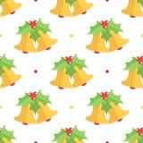 Campana de la Navidad plana colorida linda del diseño y fondo inconsútil del modelo del muérdago Fotos de archivo