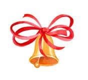 Campana de la Navidad y de Año Nuevo con ribbor Imagen de archivo libre de regalías