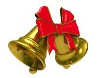 Campana de mano del oro dos en el fondo blanco Fotos de archivo libres de regalías
