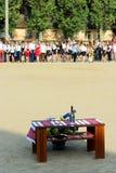 Campana de mano festiva en la tabla en el día de fiesta de la primera campana Fotografía de archivo libre de regalías