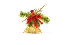 Campana del juguete de la Navidad del oro Imagen de archivo libre de regalías