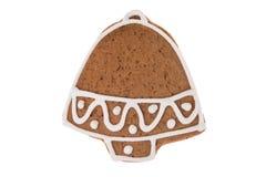 Campana del pan di zenzero di Natale isolata su un fondo bianco Fotografia Stock Libera da Diritti