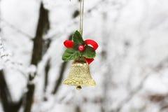 Campana del ` s del nuovo anno Il Natale gioca su un albero nell'inverno immagine stock libera da diritti