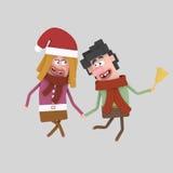 Campana della tenuta delle coppie di Natale 3d Fotografia Stock Libera da Diritti