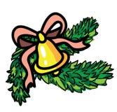 Campana di Natale con il nastro ed il sempreverde Immagine Stock