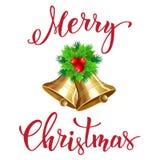 Campana di Natale con testo scritto a mano Immagine Stock