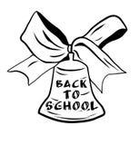 Campana di scuola con il nastro dell'arco Benvenuto di nuovo al banco Illustrazione di vettore Illustrazione di Stock