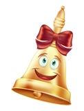 Campana di scuola sorridente con un arco rosso e gli occhi verdi allegri La campana dorata con l'emozione di un sorriso icona Fotografie Stock