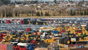 Campana River, Zarate, Argentina - 22 August 2018: Plenty of different wheel cars waiting loading on Ro-Ro vessel in a port. Campana River, Zarate, Argentina stock images