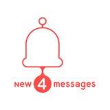 Campana roja con los nuevos mensajes Foto de archivo libre de regalías