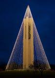 Campanario con las luces de la Navidad, lado del nanovatio, HDR del carillón Fotografía de archivo