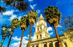 Campanario de catedral San Sebastián en Cochabamba - Bolivia foto de archivo