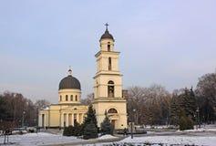 Campanario de la catedral de la natividad en Kishinev (ChiÈ™inău) el Moldavia Imágenes de archivo libres de regalías