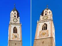 Campanario de la catedral de Merano - Italia Imágenes de archivo libres de regalías