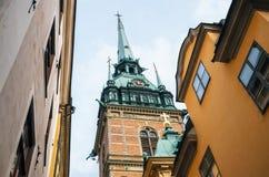 Campanario de la iglesia alemana, Estocolmo, Suecia fotografía de archivo