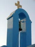 Campanario de una iglesia azul Foto de archivo