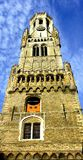 Campanario de una iglesia de Brujas en Bélgica Fotografía de archivo
