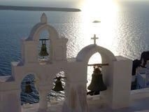 Campanario de una iglesia triple en Sanotrini Fotografía de archivo libre de regalías