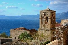 Campanario en el Monemvasia, Grecia imagen de archivo libre de regalías