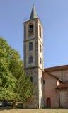 Campanario en la abadía de Croce del alla de Santa María, Tiglieto, Italia Foto de archivo libre de regalías