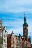 Campanario en la ciudad vieja de Gdansk, Polonia Imágenes de archivo libres de regalías