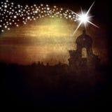 Campanario y estrella de la tarjeta de Navidad de Belén Foto de archivo