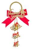 Campanas de la Navidad con el arco aislado en el fondo blanco Imagen de archivo