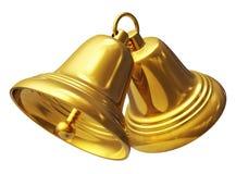 Campanas de la Navidad de oro Imagen de archivo libre de regalías