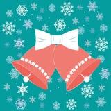Campanas de la Navidad del ejemplo del vector en estilo plano con el arco blanco stock de ilustración