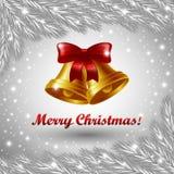 Campanas de la Navidad y Feliz Navidad Foto de archivo
