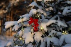 Campanas de oro y rojas en la rama del árbol de navidad cubierto Imágenes de archivo libres de regalías