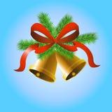 Campane dell'oro di Natale Immagini Stock Libere da Diritti