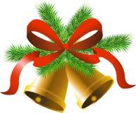 Campane dell'oro di Natale Fotografia Stock Libera da Diritti