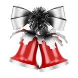 Campane di Natale con l'arco d'argento isolato su bianco Immagini Stock