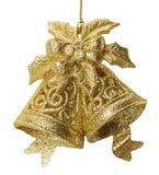 Campane di Natale dorate isolate sui precedenti bianchi Immagini Stock Libere da Diritti