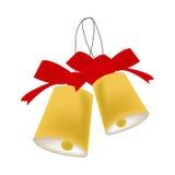 Campane di Natale isolate su fondo bianco; oggetto decorativo di festa per la stagione di celebrazione Immagine Stock