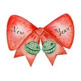 Campane di tintinnio di Natale con l'arco rosso, segnante Fotografia Stock